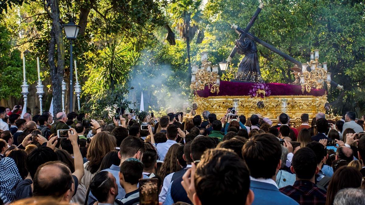 El Cristo de la Salud de la hermandad de la Candelaria, este martes 27 de marzo, en Sevilla.