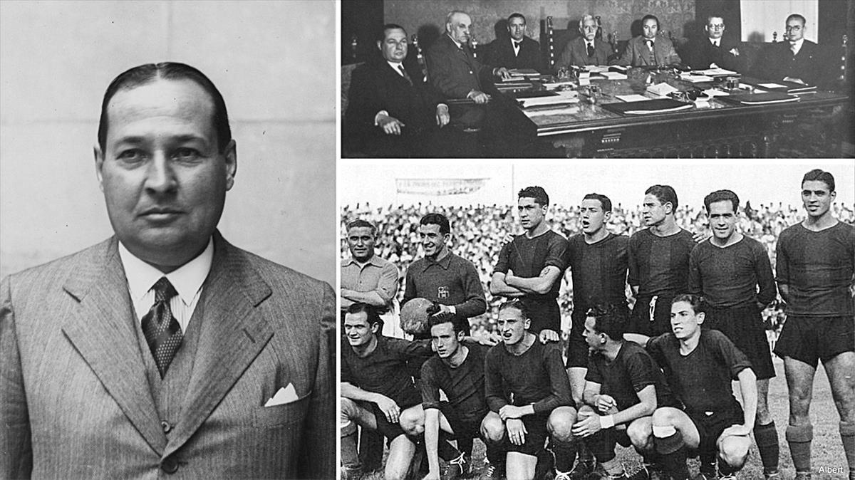 El presidente del Barça Francesc Xavier Casals. Arriba, en el Govern de Macià. Debajo, un once de la época.