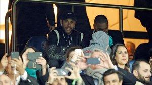 Neymar, durante el partido entre el PSG y el Manchester United.