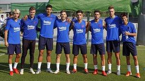 Collado, Iñaki Peña, Araujo, Carles Pérez, Monchu, Guillem Jaime, Oriol Busquets y Riqui Puig.