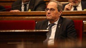 El 'president' de la Generalitat, Quim Torra, en el hemiciclo del Parlament.