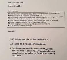 Examen de la UNED en el que se pregunta si los hechos de octubre en Catalunya fueron un golpe de Estado.