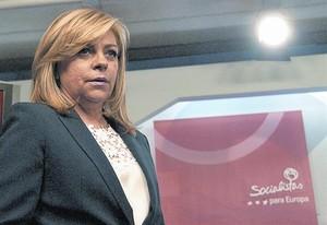 Elena Valenciano, en la sede del PSOE el 25 de mayo del 2014 tras las elecciones al Europarlamento.