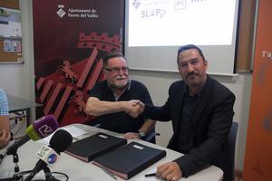 El alcalde de Parets, Francisco Juzgado, y Miguel Martínez Aparicio, director general de Laser Mimar 2000.