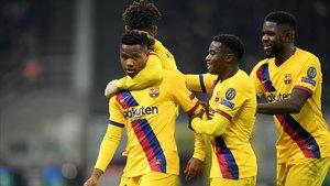 Ansu Fati celebra su gol, el que acabó eliminando al Inter de la Champions.