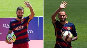 Arda Turan y Aleix Vidal, durante sus respectivas presentaciones como nuevos jugadores del Barça.