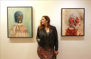 La artista Miss Van, el jueves durante la inauguración de la exposición Flor de pielen la Galería Víctor Lope.