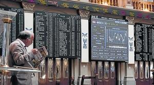Aspecto del patio de operaciones de la Bolsa de Madrid.