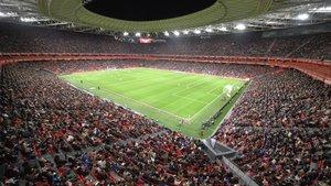 Aspecto de San Mamés en el partido de la Copa de la Reina.
