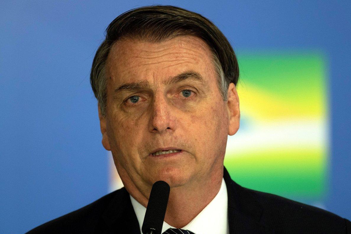 El presidente brasileño,Jair Bolsonaro, ofrece declaraciones en conferencia de prensa.