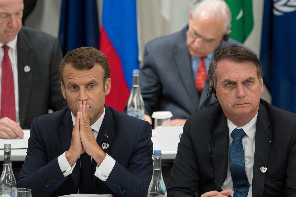 Emmanuel Macron junto a Jair Bolsonaro, presidente de Brasil.
