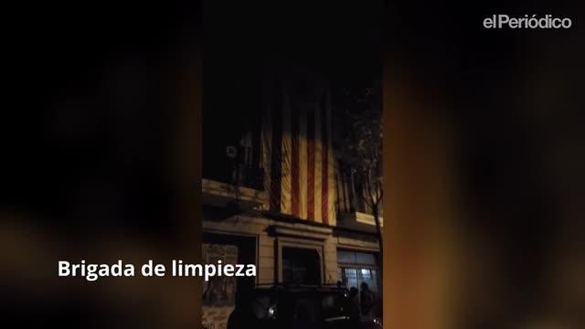 Diversas salidas de las autodenominadas Brigadas de Limpieza, que arrancan lazos amarillos, esteladas y propaganda independentista de los espacios públicos.
