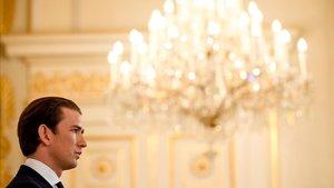 El canciller austriaco, Sebastian Kurz, este lunes en la sede del Gobierno.