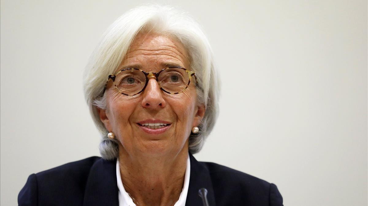 Christine Lagarde, en Londres, este miércoles 20 de diciembre.
