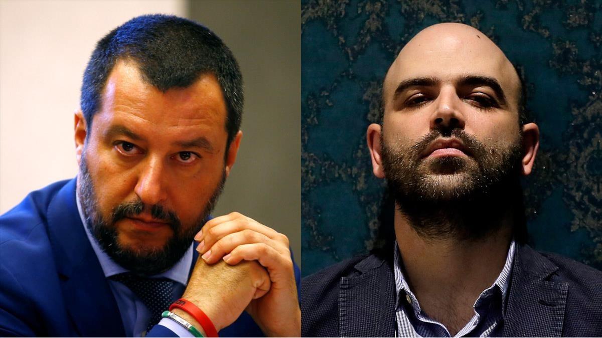 Matteo Salvini y Roberto Saviano.