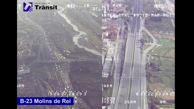 Comparación desde un helicóptero del tráfico en la B-23 en Molins de Rei antes y después de declararse el estado de alarma.