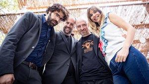 David Verdaguer, Gerard Quinto, Eteve Soler y Aina Clotet, en la presentación de 7 raons per fugir