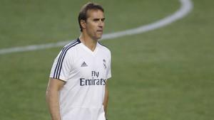 Julen Lopetegui, en un entrenamiento de pretemporada con el Real Madrid.
