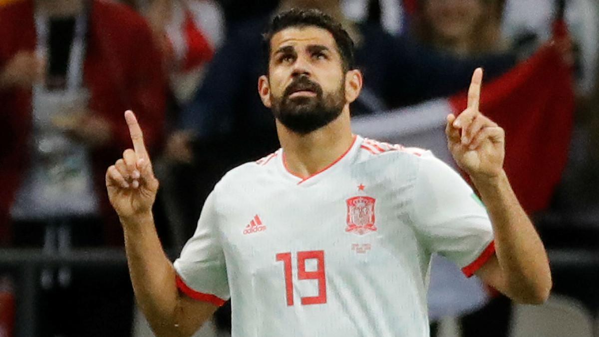 Diego Costa celebra el gol que ha metido a Irán y que coloca a la selección española primera del grupo B (0-1), este miércoles.