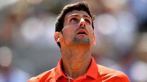 Djokovic, durante su partido de cuartos en Roland Garros.