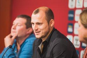 El futbolista del Albacete Roman Zozulya este jueves en rueda de prensa.