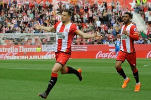 Granell celebra su primer gol en Primera División, ayer en Montilivi.