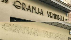 El rótulo de la Granja Vendrell, antes y después del robo de las letras.