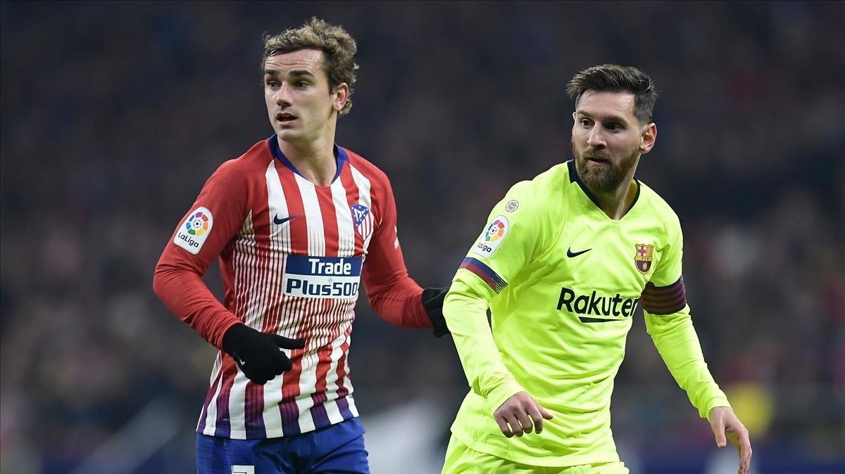 Griezmann y Messi en el Atlético-Barça del Metropolitano el pasado 24 de noviembre del 2018.