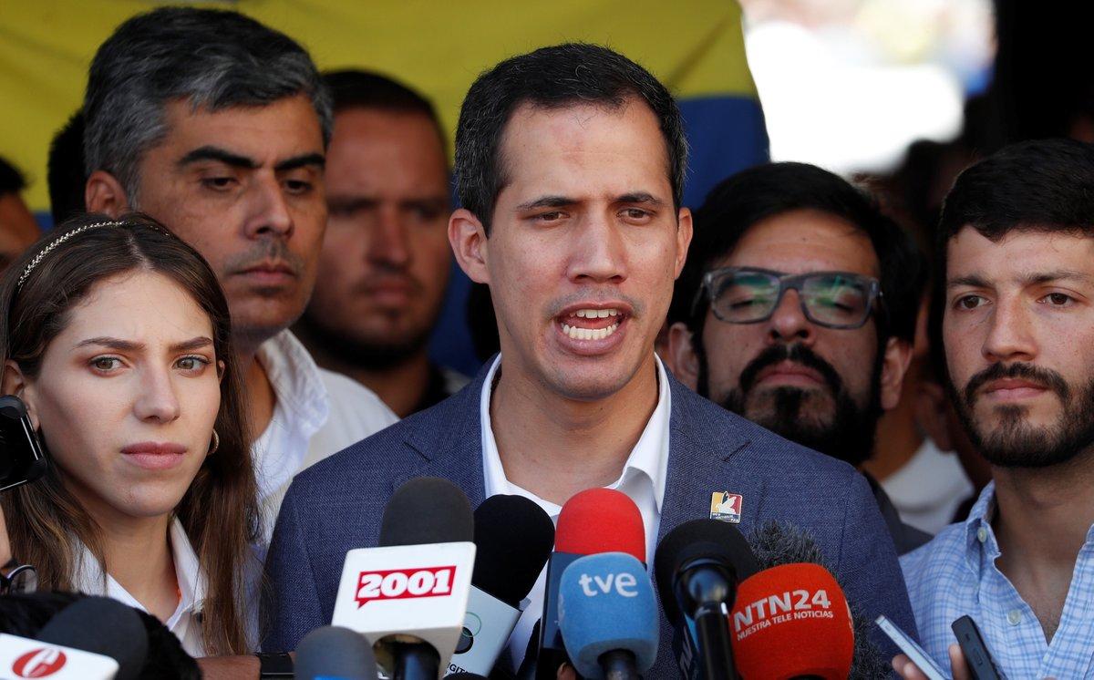 El presidente interino de Venezuela, Juan Guaidó, en una rueda de prensa.