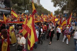 Manifestantes en Barcelona el pasado lunes, Día de la Hispanidad.