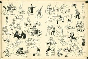 Ilustración de Hergé, de 1937, para las guardas de los álbumes de Tintín.