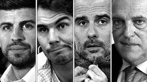 Gerard Piqué, Rafa Nadal, Pep Guardiola y Javier Tebas.