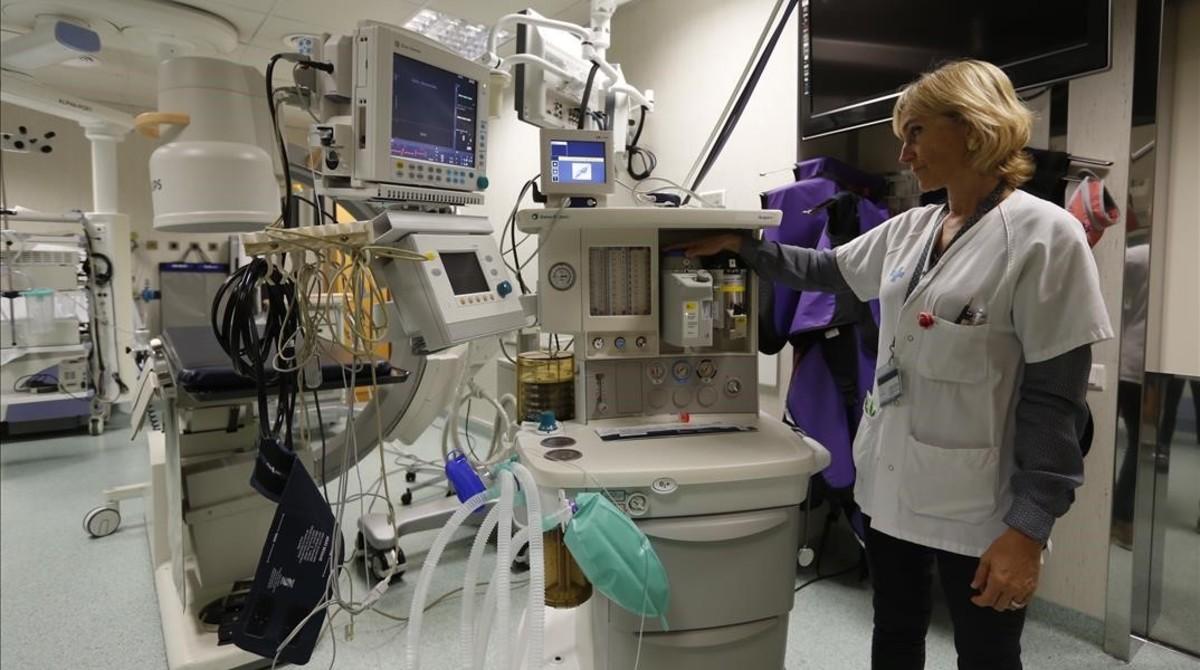 Unidad de anestesia del Hospital de Can Ruti, adquirida en el 2006, en funcionamiento.