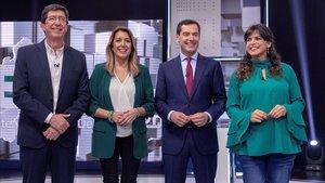 Los candidatos Juan Marín (Ciudadanos), Susana Díaz (PSOE), Juan Manuel Moreno (PP) y Teresa Rodríguez (Adelante Andalucía), el día 19, en un debate en Canal Sur.