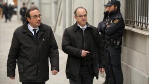 Los exconsellers Josep Rull (izquierda) y Jordi Turull, el pasado marzo, cuando acudieron a declarar en el Tribunal Supremo.