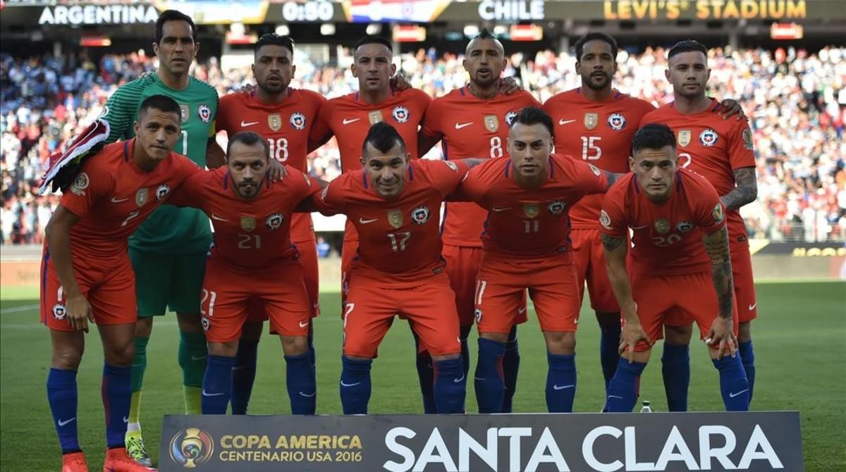 Los jugadores de Chile, antes del encuentro
