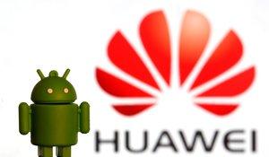 Los logotipos de Huawei y de Android, el sistema operativo de Google.
