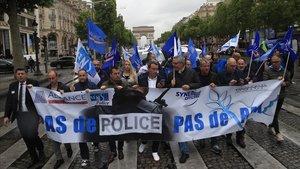 Manifestación de policías en París.