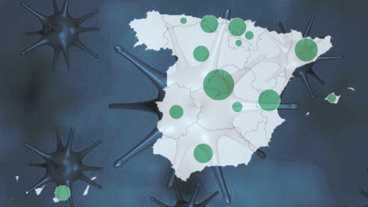 Mapa del coronavirus en España (con los datos de casos y muertos)