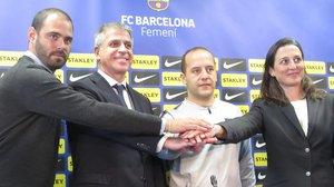 Markel Zubizarreta, Jordi Mestre, Lluís Cortés y Maria Teixidó, en la presentación hoy del nuevo técnico del Barça femenino.