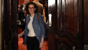 Marta Rovira, tras unareunión de la Mesa del Parlament.