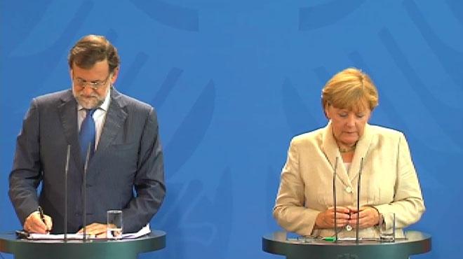 La cancillera Angela Merkel, durante larueda de prensa conjunta con Rajoy en Berlín.