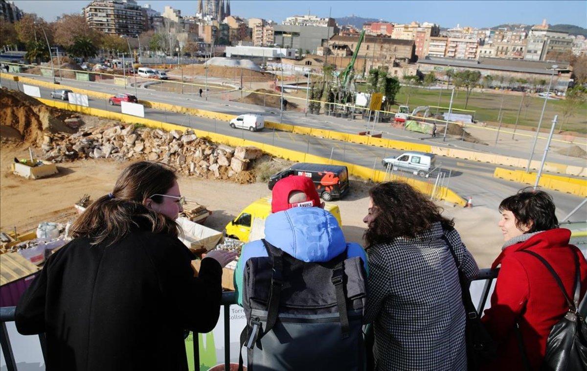 Inauguración del mirador sobre las obras de la plaza de las Glòries, el pasado 7 de enero.