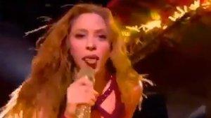 Momento de la actuación de Shakira en la Super Bowl.