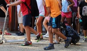 Niños, en una escuela de Barcelona.
