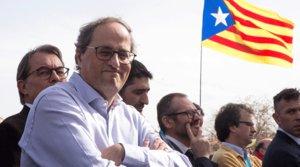 Quim Torra y, detrás, Artur Mas, en un acto organizado por elConsell per la República en Perpinyà, el pasado 29 de febrero.