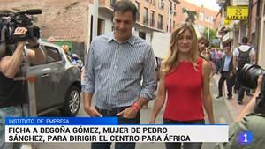 Un fotograma de la información emitida por TVE sobre el fichaje por parte delInstituto de EmpresadeBegoña Gómez, la esposa del presidente del Gobierno.
