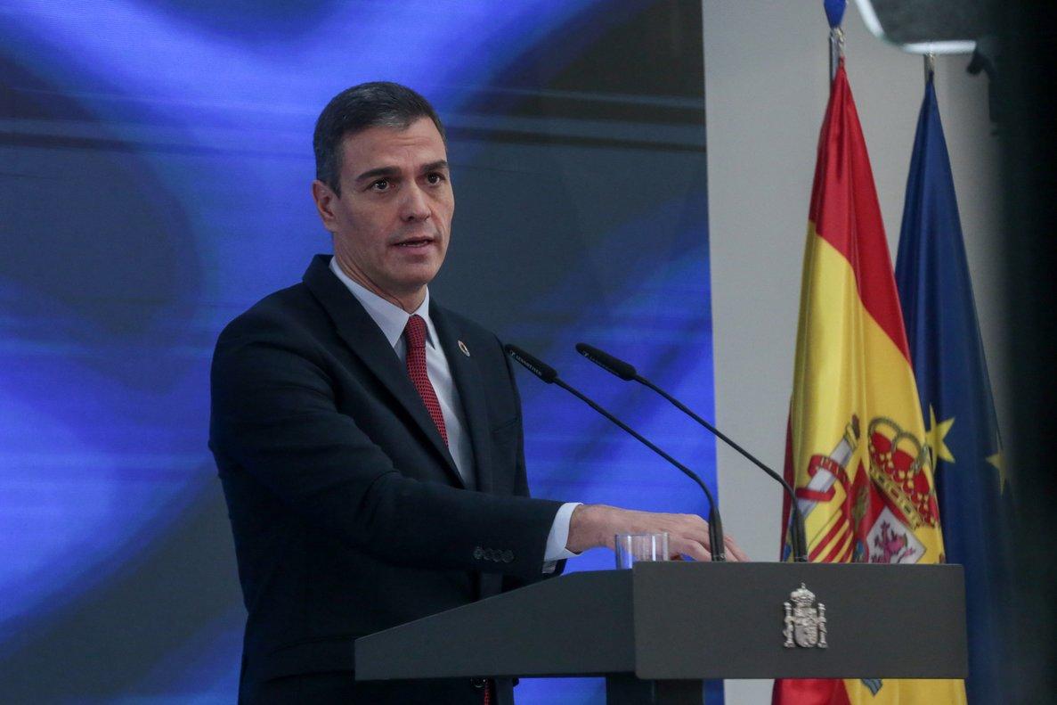 El presidente del Gobierno, Pedro Sánchez, durante su exposición del 'Plan de Recuperación, Transformación y Resiliencia', este 7 de octubre en la Moncloa.