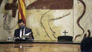 Pere Aragonès, en la primera reunión del Govern como 'president' sustituto