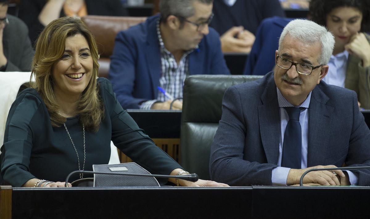 La presidenta de Andalucía y del PSOE, Susana Díaz, durante un pleno del Parlamento andaluz, el 3 de marzo en Sevilla.